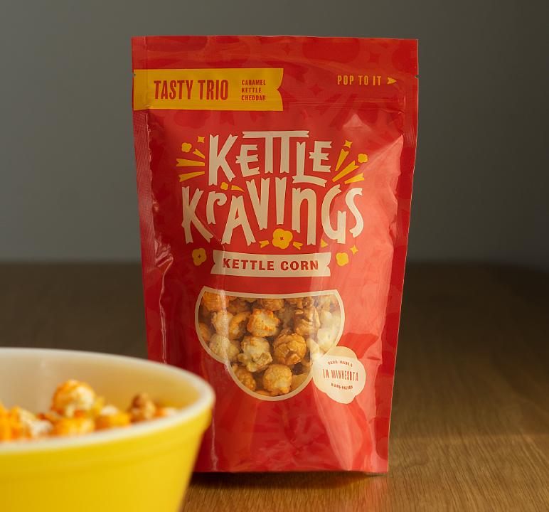 Bag of Kettle Kravings Tasty Trio flavor
